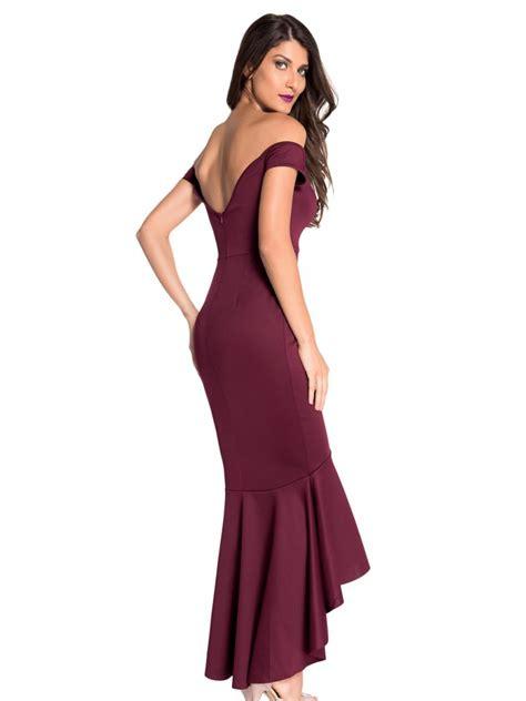 Dress Maroon Jersey maroon shoulder mermaid jersey evening dress e60171
