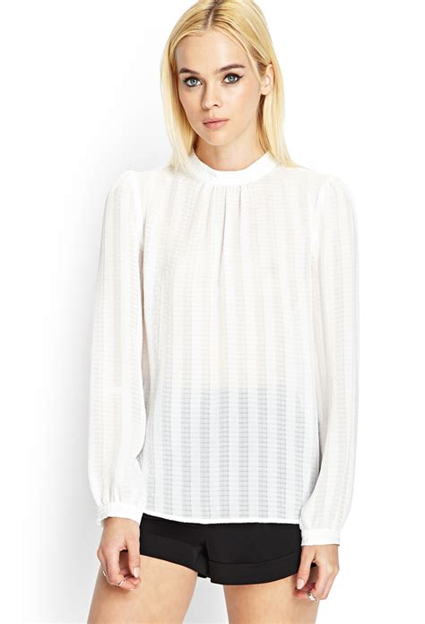 Sleeve High Neck Blouse by Lyst Forever 21 High Neck Blouse In White