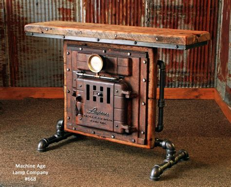 Blacksmith Home Decor Antique Steampunk Industrial Boiler Door Table Stand