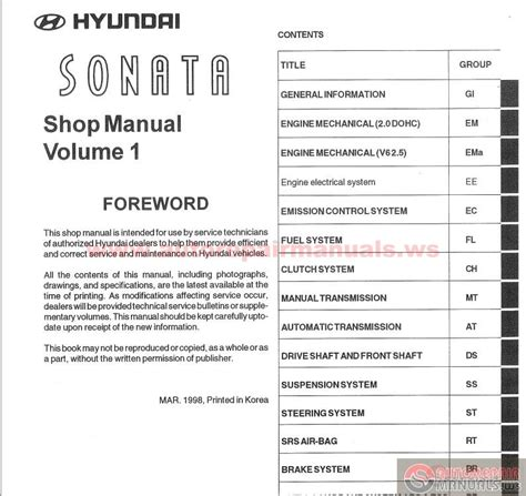 free online auto service manuals 2005 hyundai sonata interior lighting hyundai sonata 1999 service manual auto repair manual forum heavy equipment forums