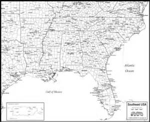 southeast usa map to print