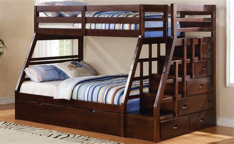 bunk bed with steps and drawers twin over full bunk bed jason espresso step stairway drawers