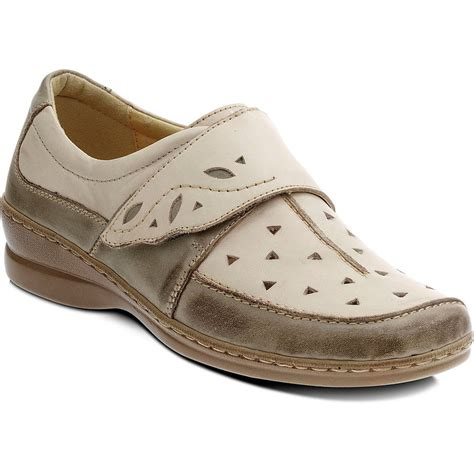 shoes velcro ischia bone olive leather velcro shoe