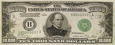$10,000 bill sent to n.y. for safekeeping business us