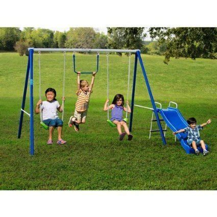 yo backyard metal swing sets with slide for kids 2 12 y o outdoor fun