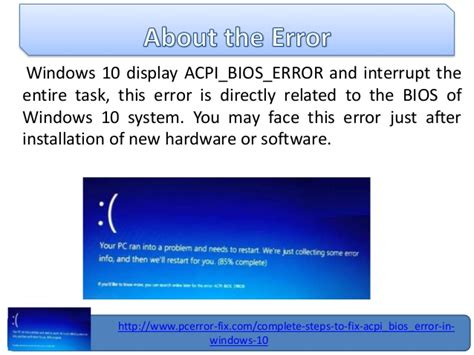 reset bios windows 10 fix acpi bios error in windows 10