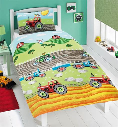 tractor bedding tractor farm sheep green double cotton blend duvet