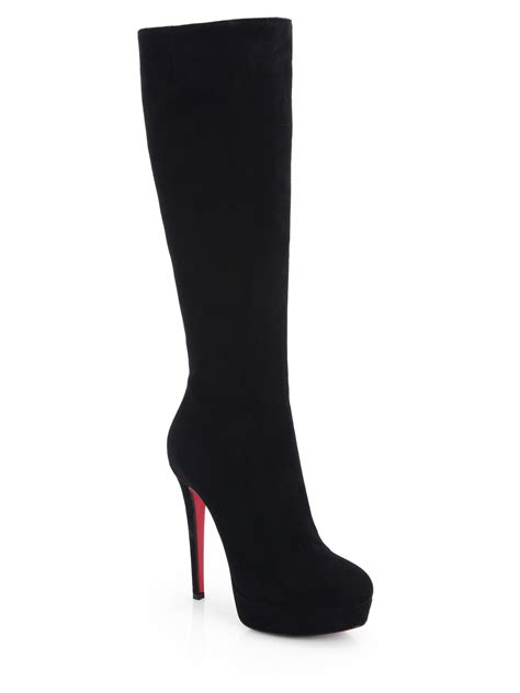 christian louboutin suede knee high boots in black