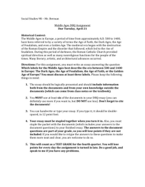 Middle Ages Essay by Dbq Elementary