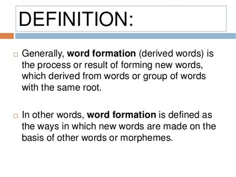 Definition Of The Word 9 Lexicology Word Formation