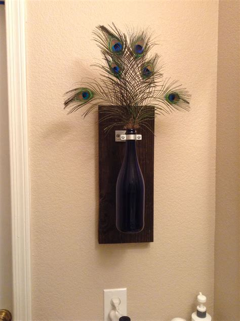 peacock bathroom ideas wine bottle wall decor but because my bathroom is peacock