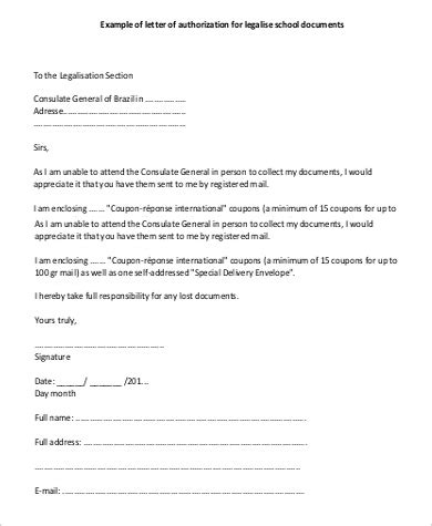 authorization letter format to receive documents authorisation letter to collect documents