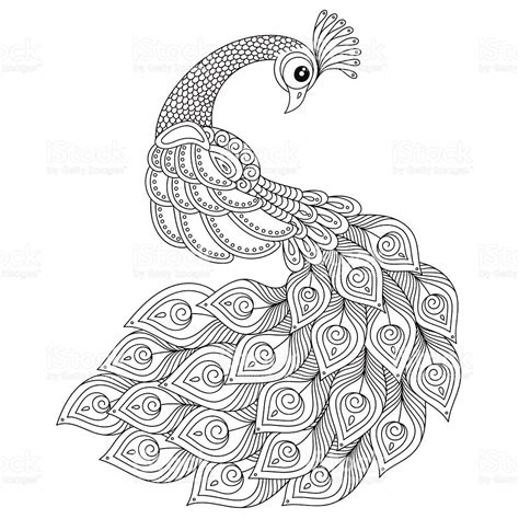 anti stress coloring pages animals peacock antistress coloring page stock vector