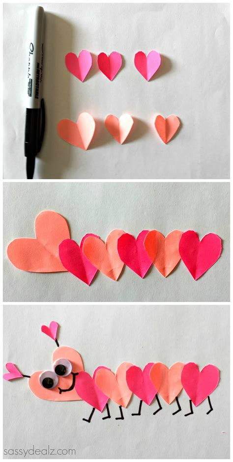 valentine s day heart caterpillar craft valentine craft