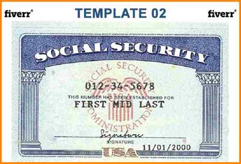 ss card blank template blank social security card template present print ssn 7