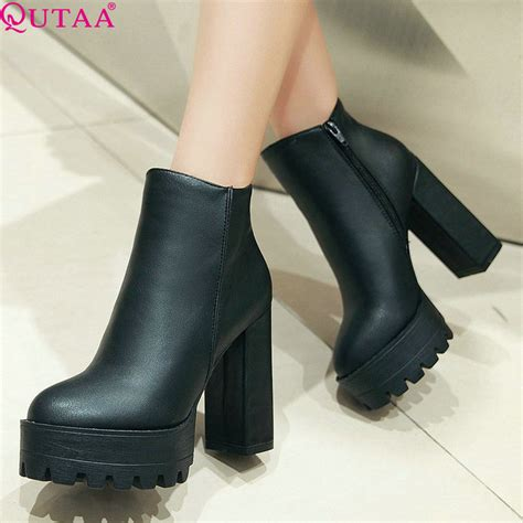 Qutaa European Style Sexy Round Toe Ankle Boots