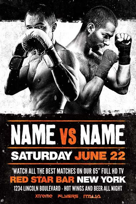 ufc card template free boxing flyer template xtremeflyers
