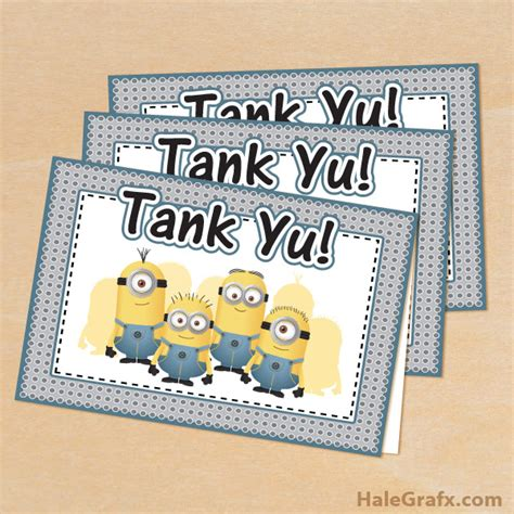 printable minion thank you cards thanks a minion free printable party invitations ideas