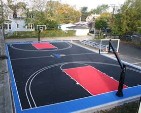 Home basketball court concrete basketball court given to kids