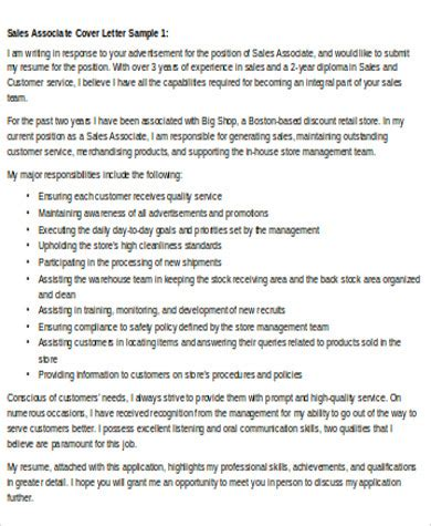 sales and marketing cover letter sle sales associate cover letter 8 exles in word pdf