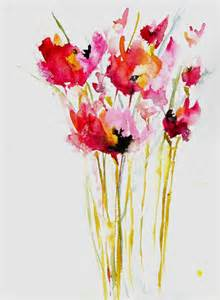 painting blue pink poppies for sale at ugallery http wwwugallerycom watercolor