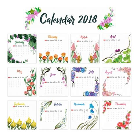 printable calendar 2018 floral 2018 calendar floral design vector free download