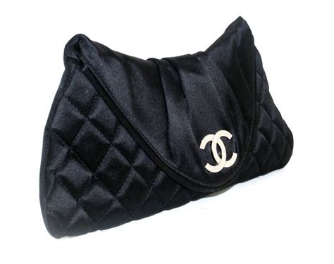 Clucth Chanel 3 chanel black satin flap clutch at 1stdibs