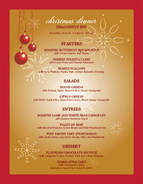 christmas party menu letter christmas menus