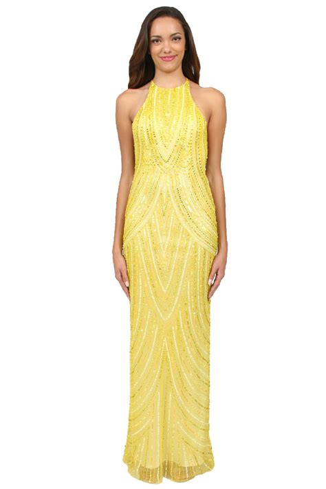 draped evening gown scala draped embellished evening dress in yellow lyst