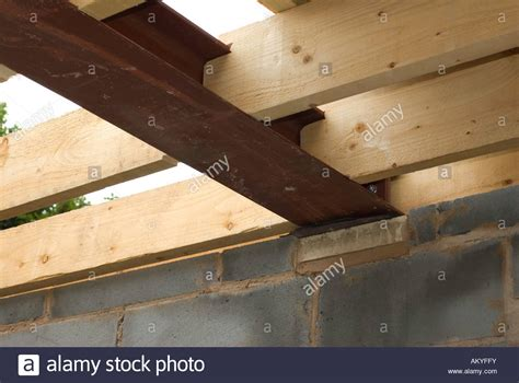 steel ceiling joists wooden roof joists and steel joist stock photo royalty