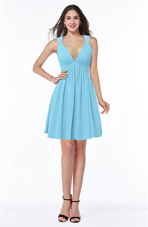 light blue pleated dress light blue bridesmaid dress a line sleeveless short