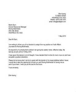 Exle Letter Of Resignation 2 Week Notice by Sle Resignation Letter With 2 Week Notice 6 Exles In Word Pdf
