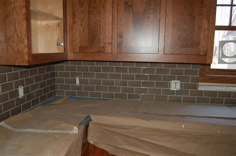 Tile Backsplash Installation Interior Simple Design Glass Subway Tile Backsplash Install Glass And Oak Wood Kitchen