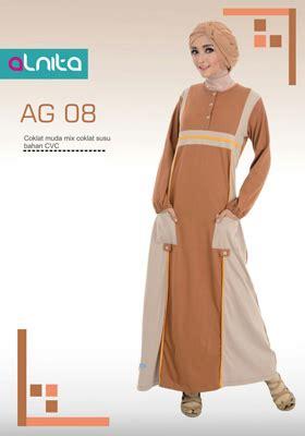 Alnita Gamis Ag 45 jual baju gamis alnita coklat muda