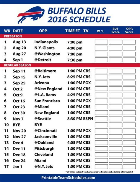 printable nfl schedule with logos 48 best buffalo bills everything images on pinterest