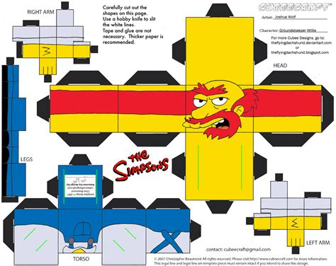 Simpsons Papercraft - simpsons5 groundskeeper willie cubee by