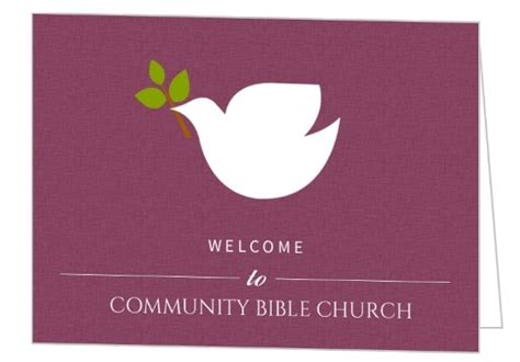 Welcome Card Design Template by Dove On Burgendy Church Welcome Card Baptism Invitations