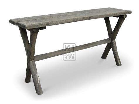 Narrow Wooden Table prop hire 187 tables 187 narrow wooden table with x legs keeley hire