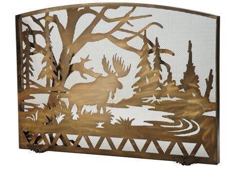 Moose Fireplace Screen meyda 113070 moose creek arched fireplace screen