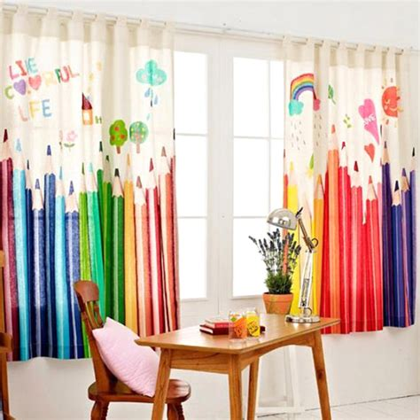 kids drapery korean style kids curtains cartoon colorful pencils print