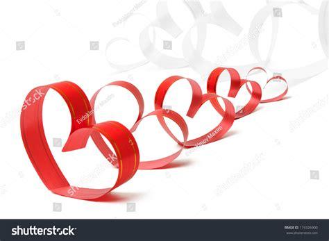 valentines day ribbon ribbons shaped hearts on white valentines stock photo