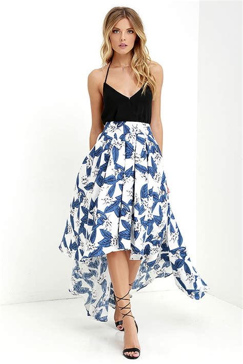 floral print skirt high low skirt blue and ivory skirt