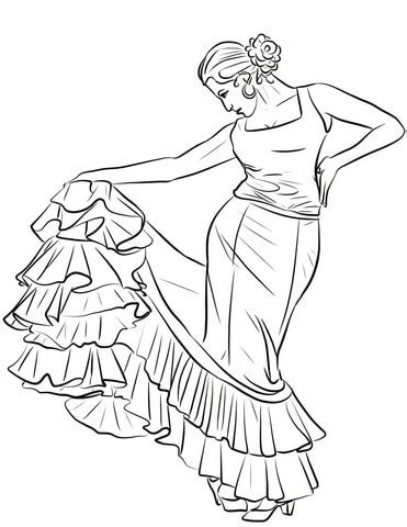 coloring pages for spanish spanish dancer coloring page supercoloring com