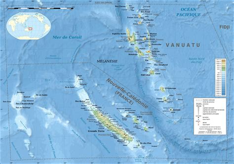 map of new caledonia and australia new caledonia and vanuatu bathymetric and topographic