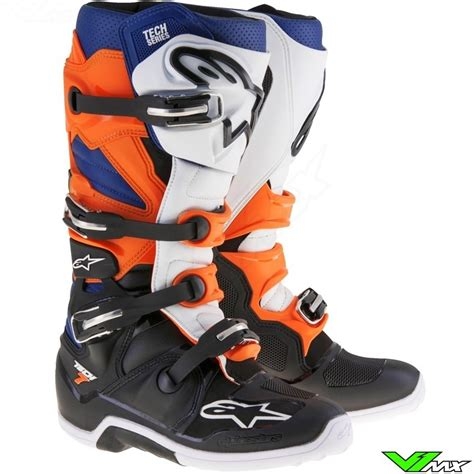 alpinestars tech 7 motocross boots alpinestars 2017 tech 7 mx boots black orange white
