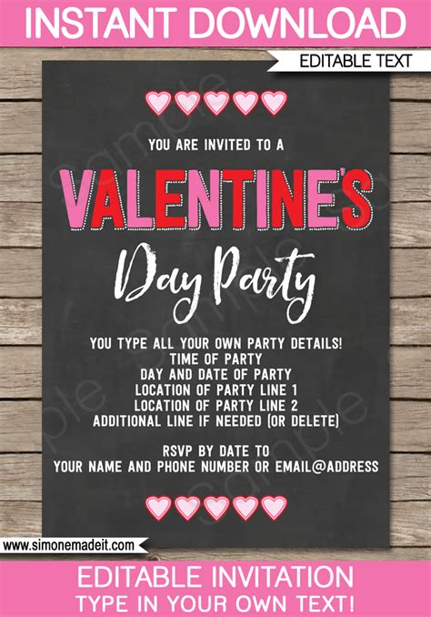 valentines day party invitations editable template