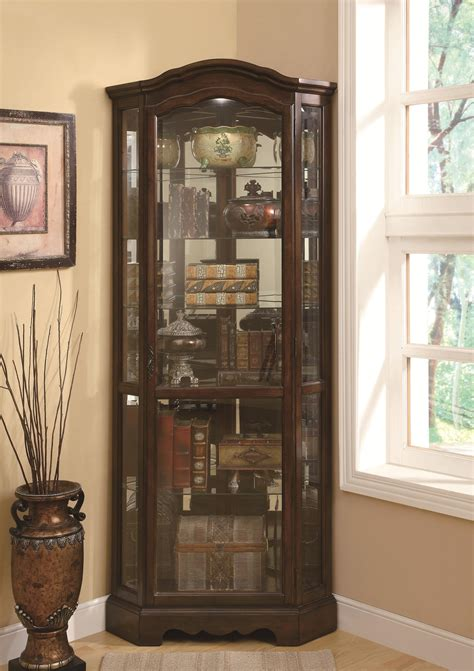 coaster curio cabinets 5 shelf corner curio cabinet with