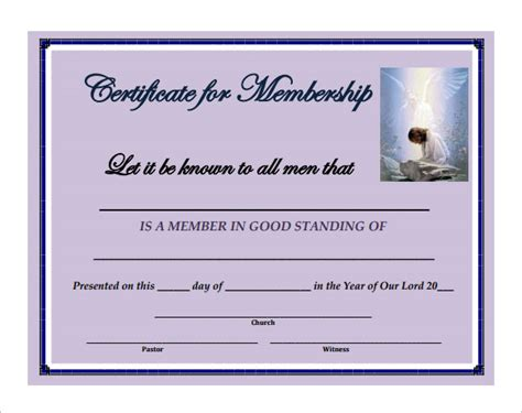 church membership card template membership certificate template 23 free word pdf
