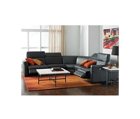 macy s nicolo 5 slate leather reclining sectional
