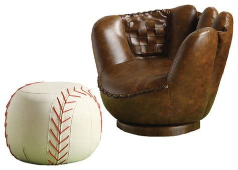 kids baseball chair and ottoman sporty dark brown baseball glove chair white ottoman